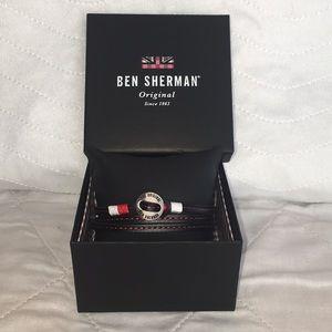 NIB Ben Sherman Mens Faux Leather Wrap Bracelet